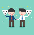 two businessman shake hand and open mask sincere vector image