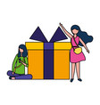 two women with big gift surprise vector image