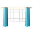 window with turquoise curtains isolated on white vector image
