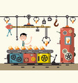 worker in bulb factory flat design line of vector image