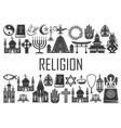 world religion icons religious symbols vector image vector image