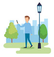 young man on the park vector image