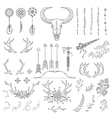 Hand drawn vintage rustic tribal collection vector image