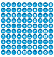 100 pointers icons set blue vector image vector image