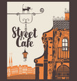 Banner for street cafe in old city