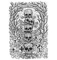black and white engraved scary skulls vector image vector image