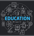 black line flat circle education vector image vector image