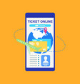 booking tickets online with phone concept vector image vector image