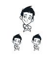 cartoon boys facial emotion vector image vector image