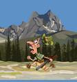 cartoon hunter with a gun and no pants running vector image vector image