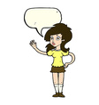 cartoon pretty woman waving for attention with vector image vector image