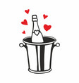 champagne bottle in ice bucket with hearts vector image vector image