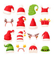 christmas hats and head accessories vector image vector image