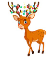 Christmas theme with reindeer and lights vector image vector image