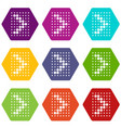 design element with dots arrow icons set 9 vector image vector image