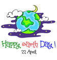 Earth day cartoon world at night vector image