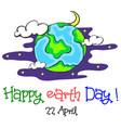 earth day cartoon world at night vector image vector image