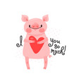 greeting card with cute piglet sweet pig vector image