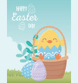 happy easter day chicken in eggshell basket eggs vector image