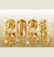 happy golden new 2021 year 3d card with coins vector image vector image