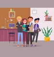 happy office team stands on cozy office background vector image vector image