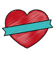 heart love card with ribbon vector image vector image