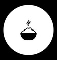 hot rice food in bowl simple black icon eps10 vector image vector image