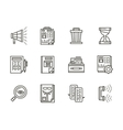 Human resource management black line icons vector image