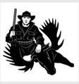 hunter and killed moose or elk - hunting trophy vector image