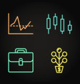 investment activities icon set in neon line style vector image vector image