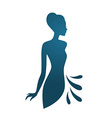 Isolated blue woman silhouette vector image vector image