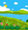 landscape lawn flowers vector image vector image