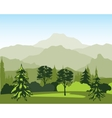 Landscape with wood and mountain vector image vector image