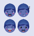 little blue boys emoticon set kawaii characters vector image vector image