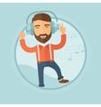Man in headphones dancing vector image
