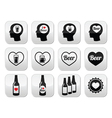 Man loving beer buttons set vector image vector image