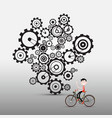 man on bicycle with cogs gears on background vector image vector image