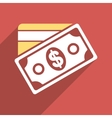 Money Flat Long Shadow Square Icon vector image