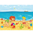 Mother and kid on the beach vector image vector image
