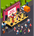 music festival isometric composition vector image vector image