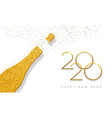 new year 2020 gold glitter champagne bottle card vector image vector image