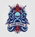 octopus kraken badge logo hydra vector image vector image