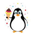 penguin with ice cream isolated on white vector image
