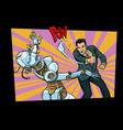 retro male beats up female robot vector image vector image
