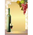 Ripe grapes wine glass and bottle wine vector image