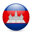 Round glossy icon of cambodia vector image vector image
