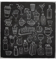 set different hand drawn beverages on vector image