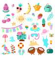 set summer and vacation elements cute cartoon vector image vector image