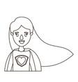 sketch contour caricature half body super woman vector image vector image