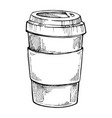 take out coffee cup freehand pencil drawing vector image vector image